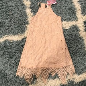 Blush lace halter dress, size small, never worn.